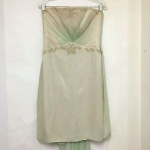 Laundry By Shelli Segal Green Silk Strapless Dress